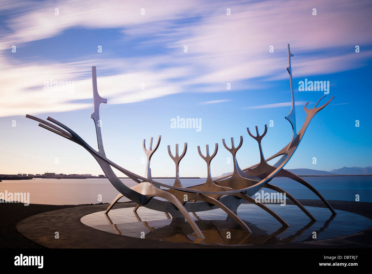 Solfar (Sun Voyager), iconic stainless-steel modern sculpture representing a Viking longboat, Reykjavik, Iceland - Stock Image
