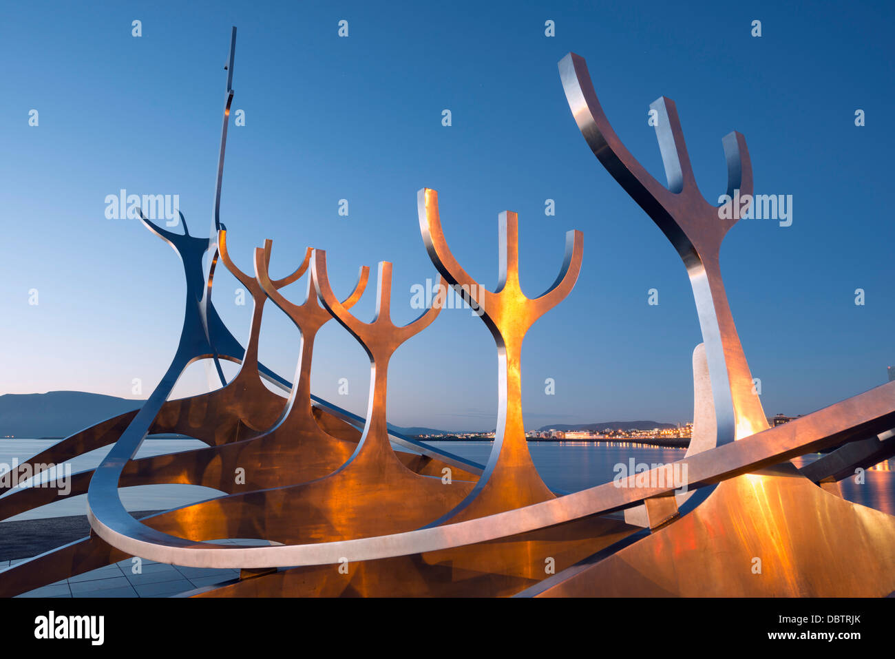 Iceland, Reykjavik, Solfar (Sun Voyager), iconic stainless-steel modern sculpture representing a Viking longboat - Stock Image
