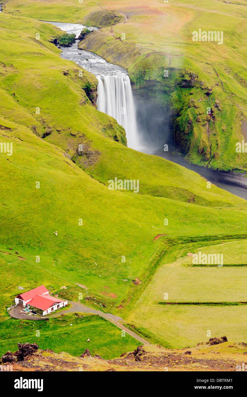 Skogafoss waterfall, Southern Region, Iceland, Polar Regions - Stock Image