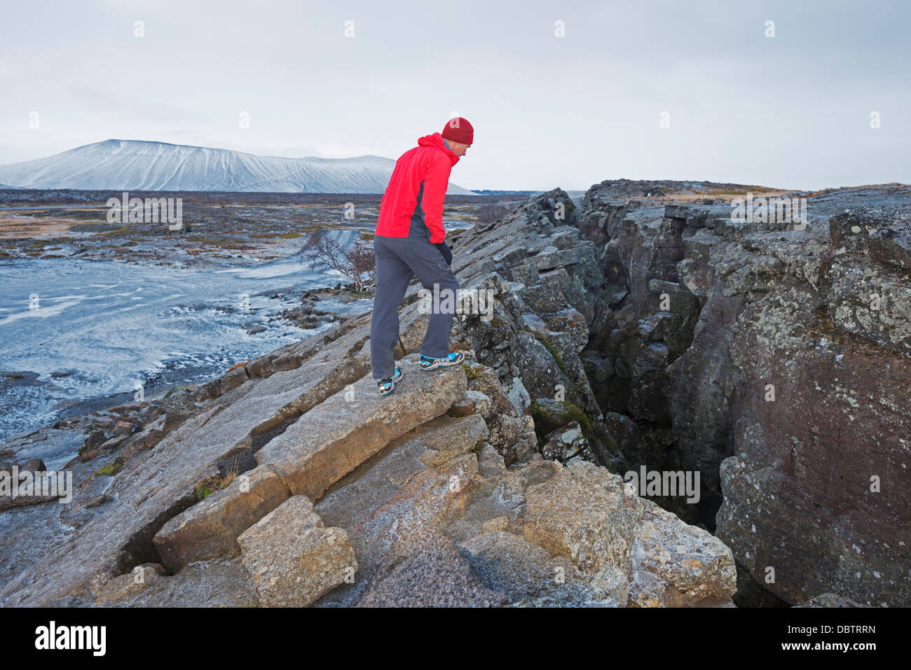 Diverging plates in a volcanic fissure zone, Myvatn, Iceland, Polar Regions - Stock Image