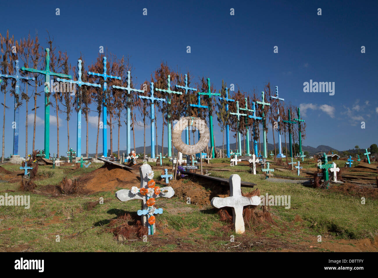 Graveyard, boards represent doors to and from the grave, village of El Romerillo, Chiapas, Mexico - Stock Image