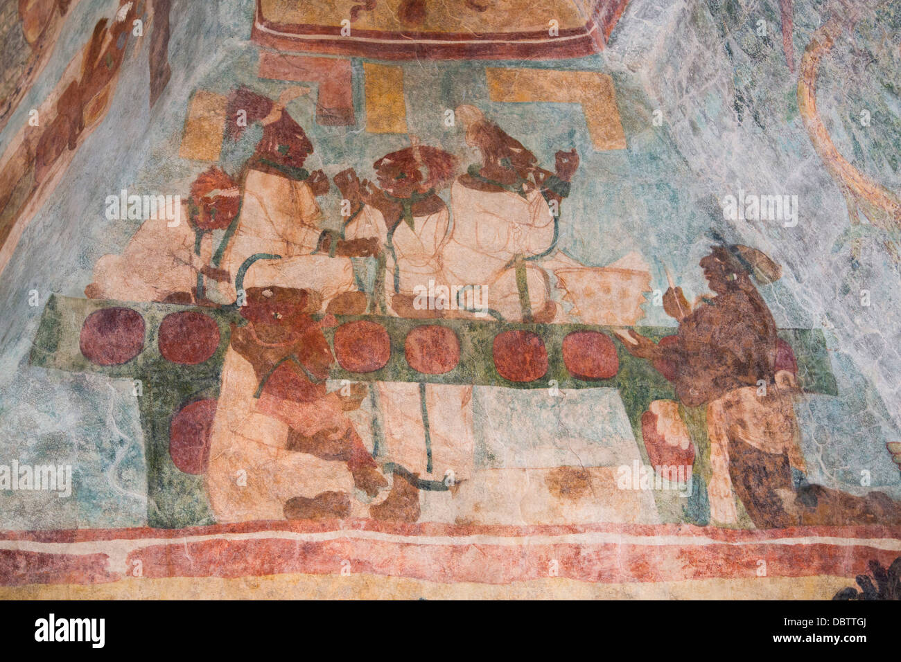 Royal family performing a blood letting ritual, Room 3, Temple of Murals, Bonampak Archaeological Zone, Chiapas, - Stock Image