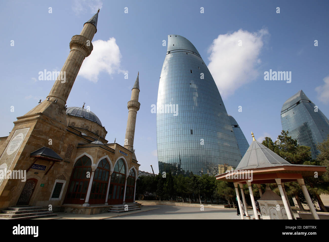 Shehidler mosque and the Flame Towers, Baku, Azerbaijan, Central Asia, Asia - Stock Image