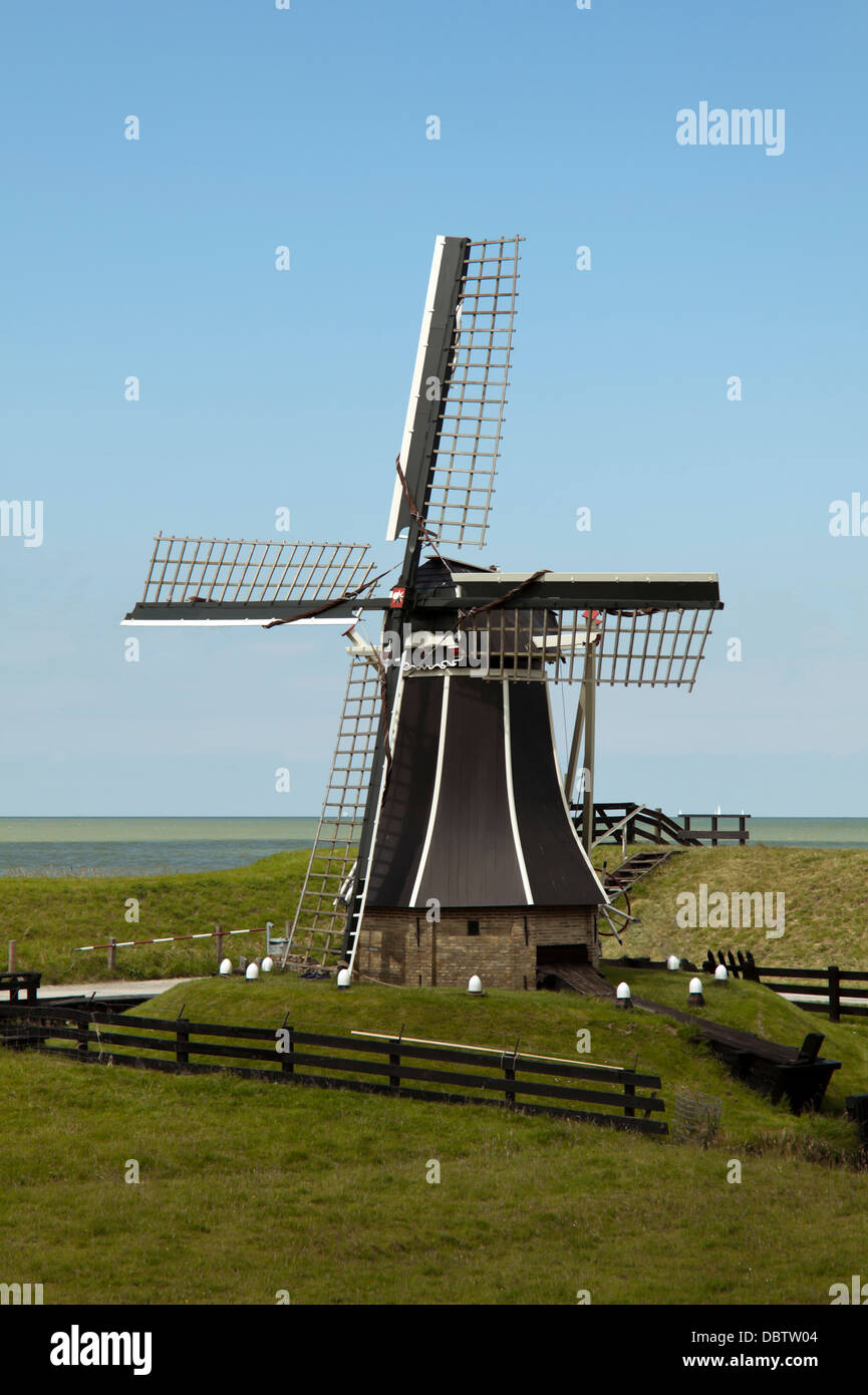 Typically Dutch Polder mill at the  Zuiderzee Museum, Enkhuizen, North Holland, The Netherlands. - Stock Image