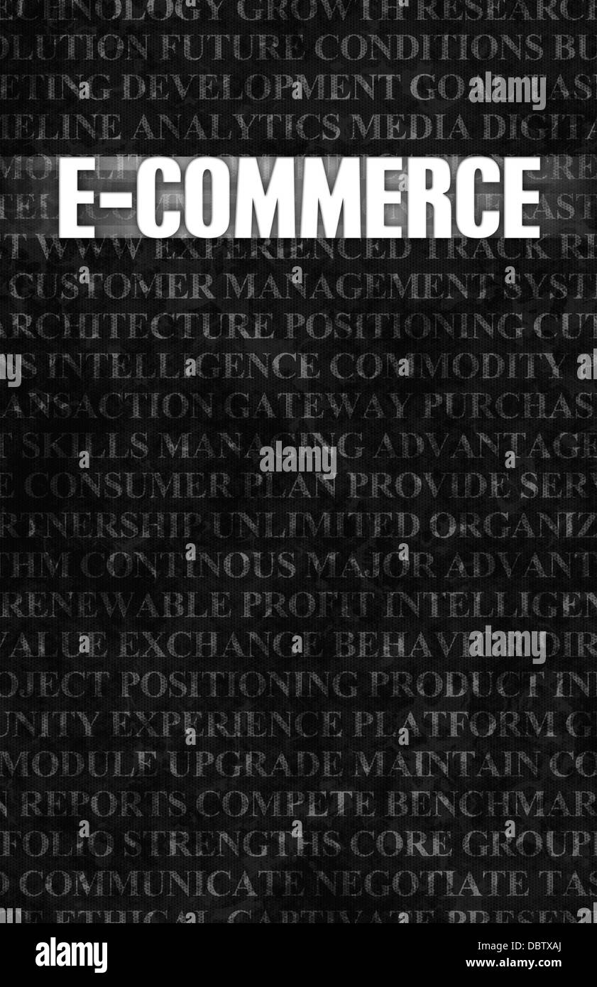 E commerce in business as motivation in stone wall stock image