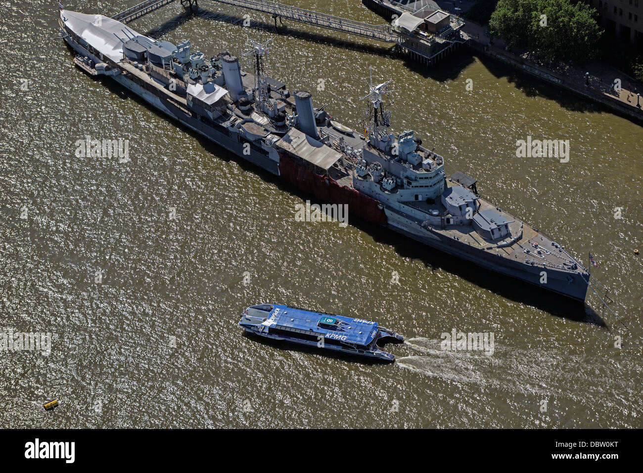 Aerial photograph of HMS Belfast - Stock Image