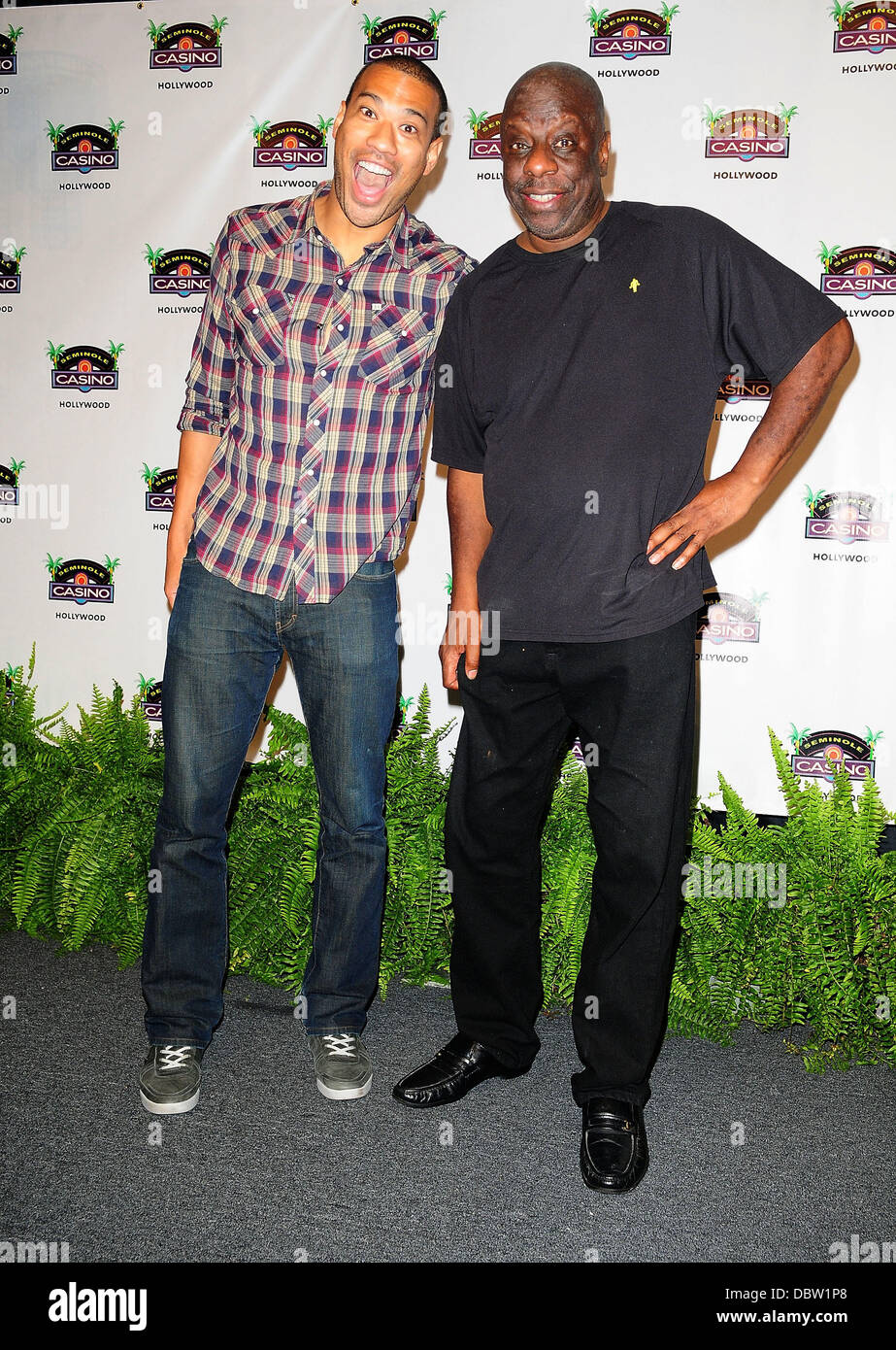 Michael Yo and Jimmie 'JJ' Walker attends the 'Face of Classic $100,000 Dream Job' event at Seminole - Stock Image