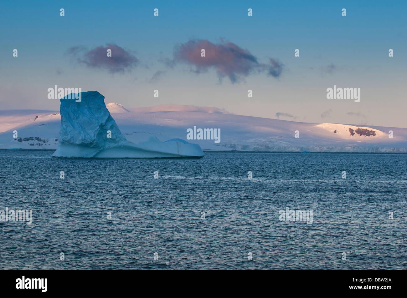 Sunset in Half Moon Bay, South Shetland Islands, Antarctica, Polar Regions - Stock Image