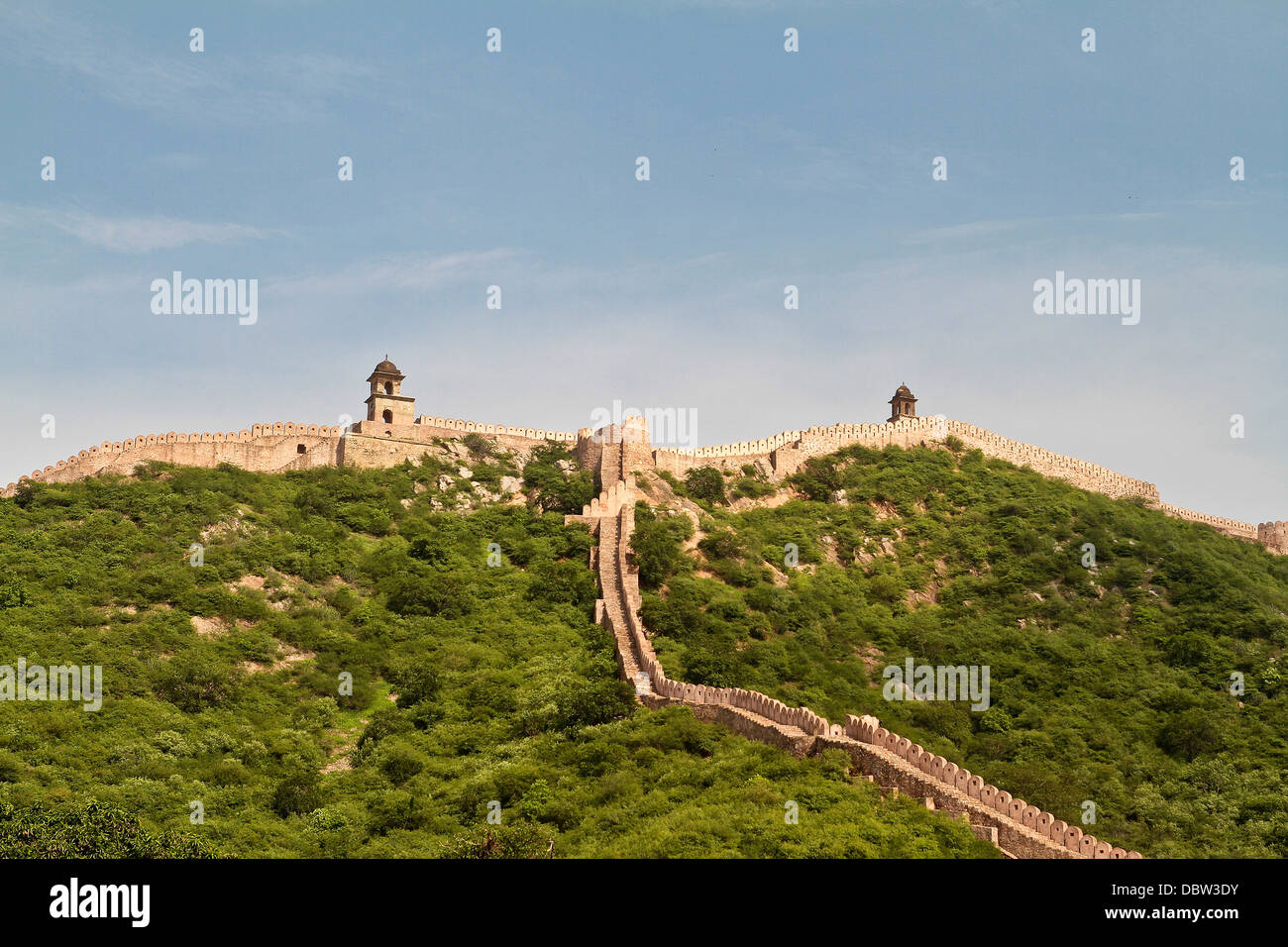 View of fortifications around Amer Fort in Amer Raasthan India - Stock Image