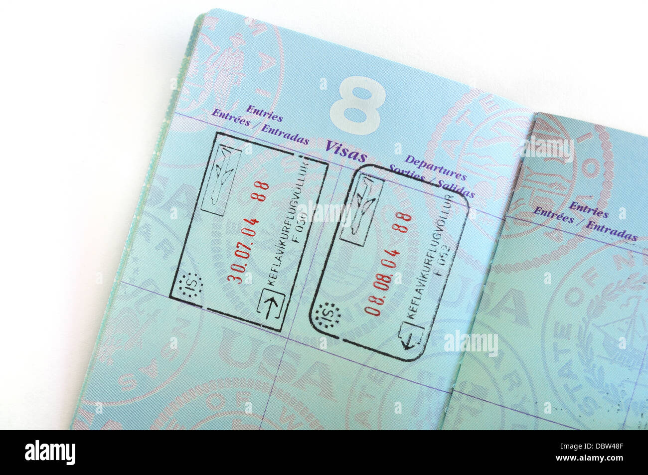 Visa stamps / visas for Iceland in an American passport - Stock Image