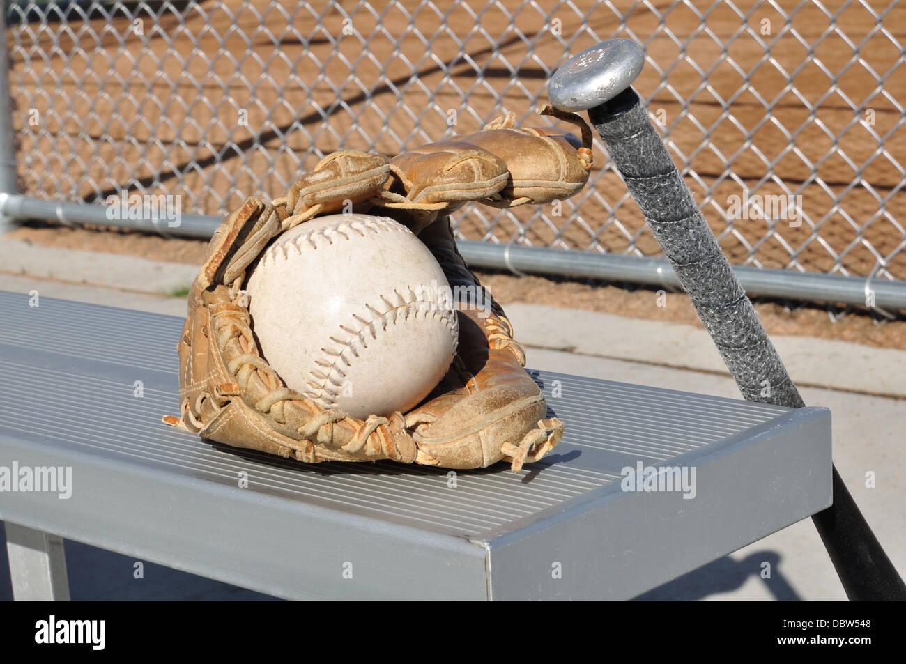 Baseball bat and glove - Stock Image