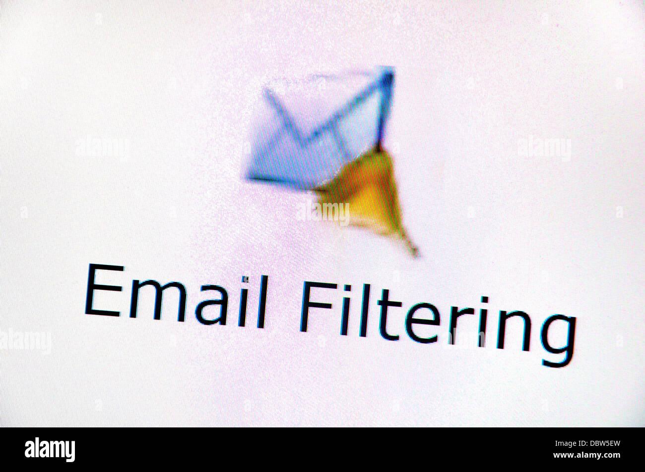 Computer screenshot - Internet. Email filtering - Stock Image