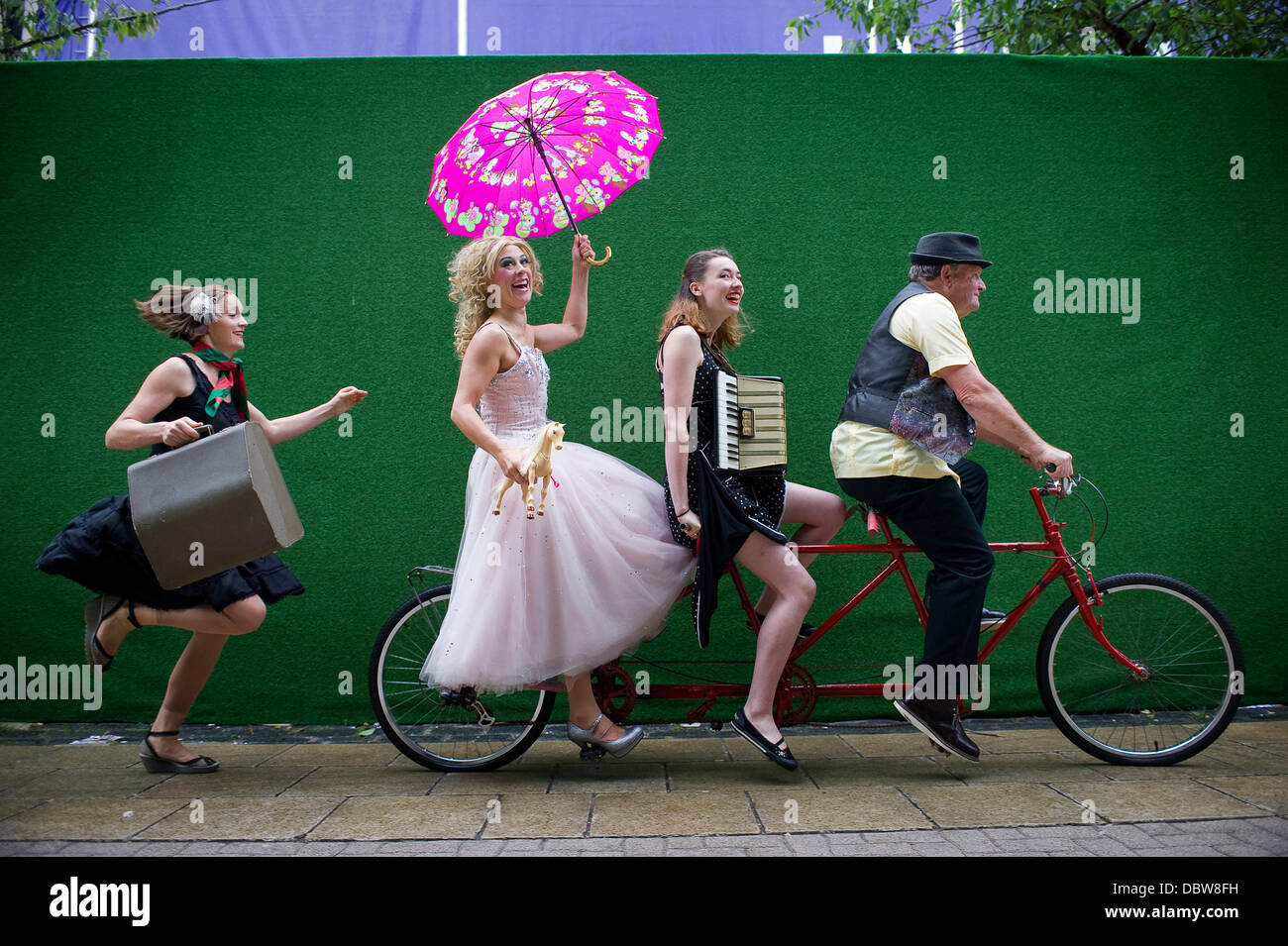Edinburgh. UK. 5th August 2013. The cast of the circus group who perform Flown at Edinburgh's Underbelly as - Stock Image