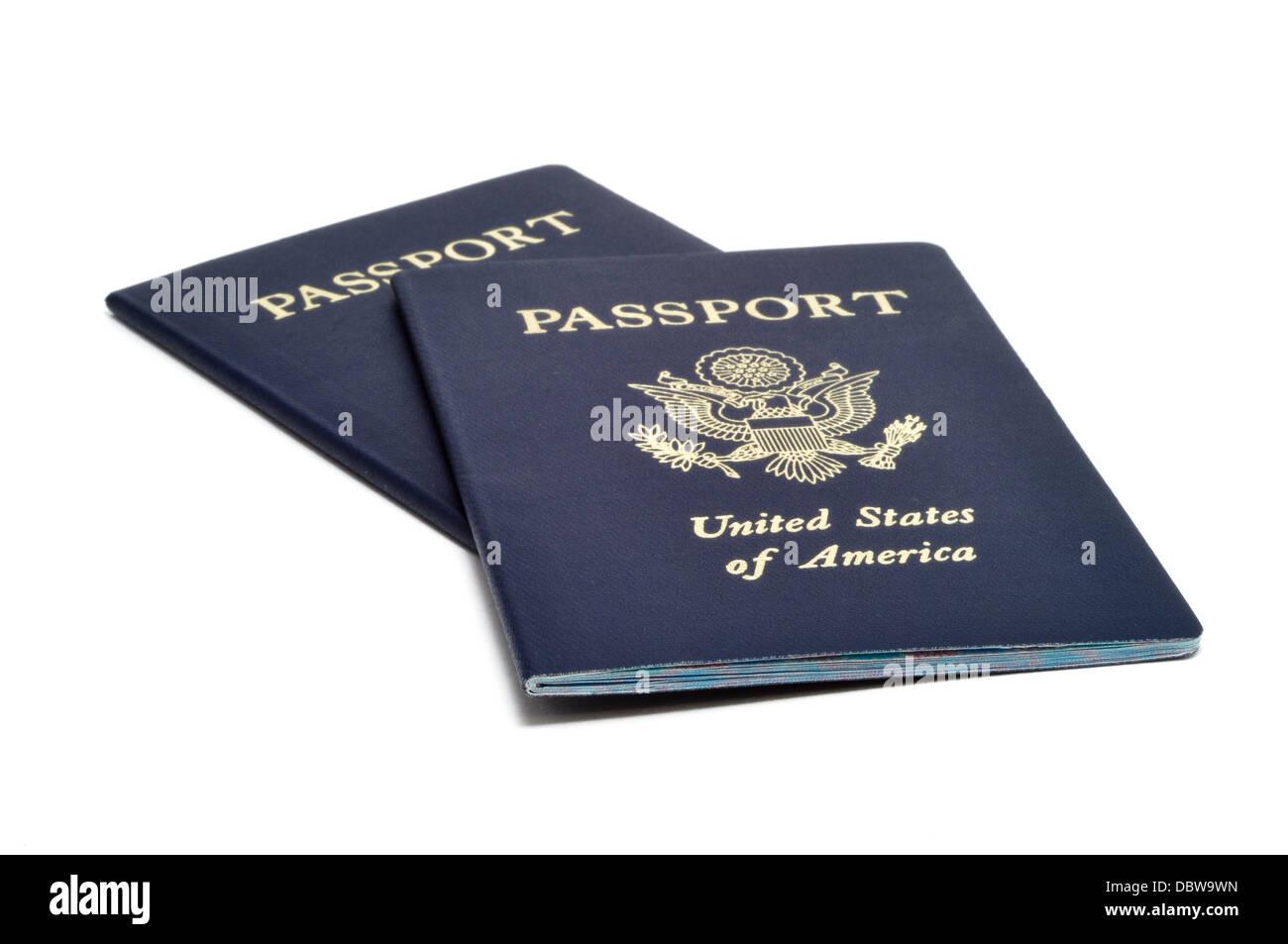 US Passports isolated on white background - Stock Image