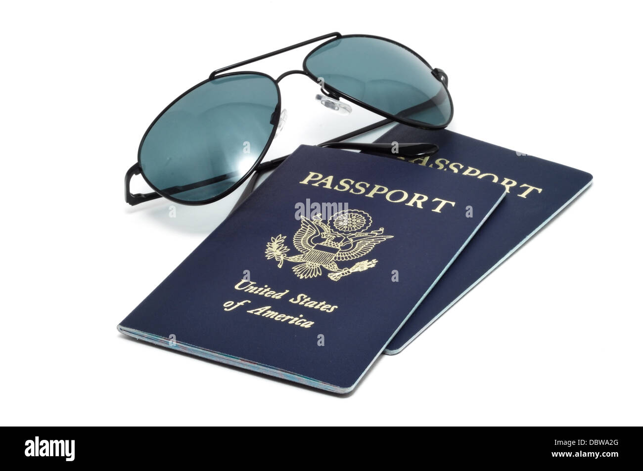 Two United States of America Passports and Sunglasses - Vacation / holiday concept - Stock Image