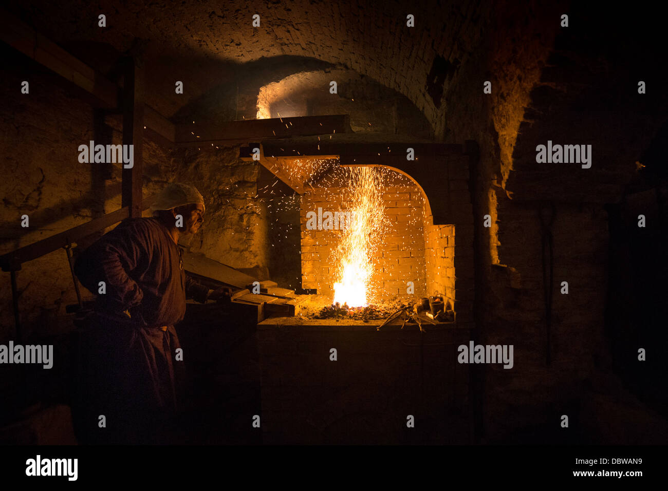 Blacksmith work with fire - Stock Image