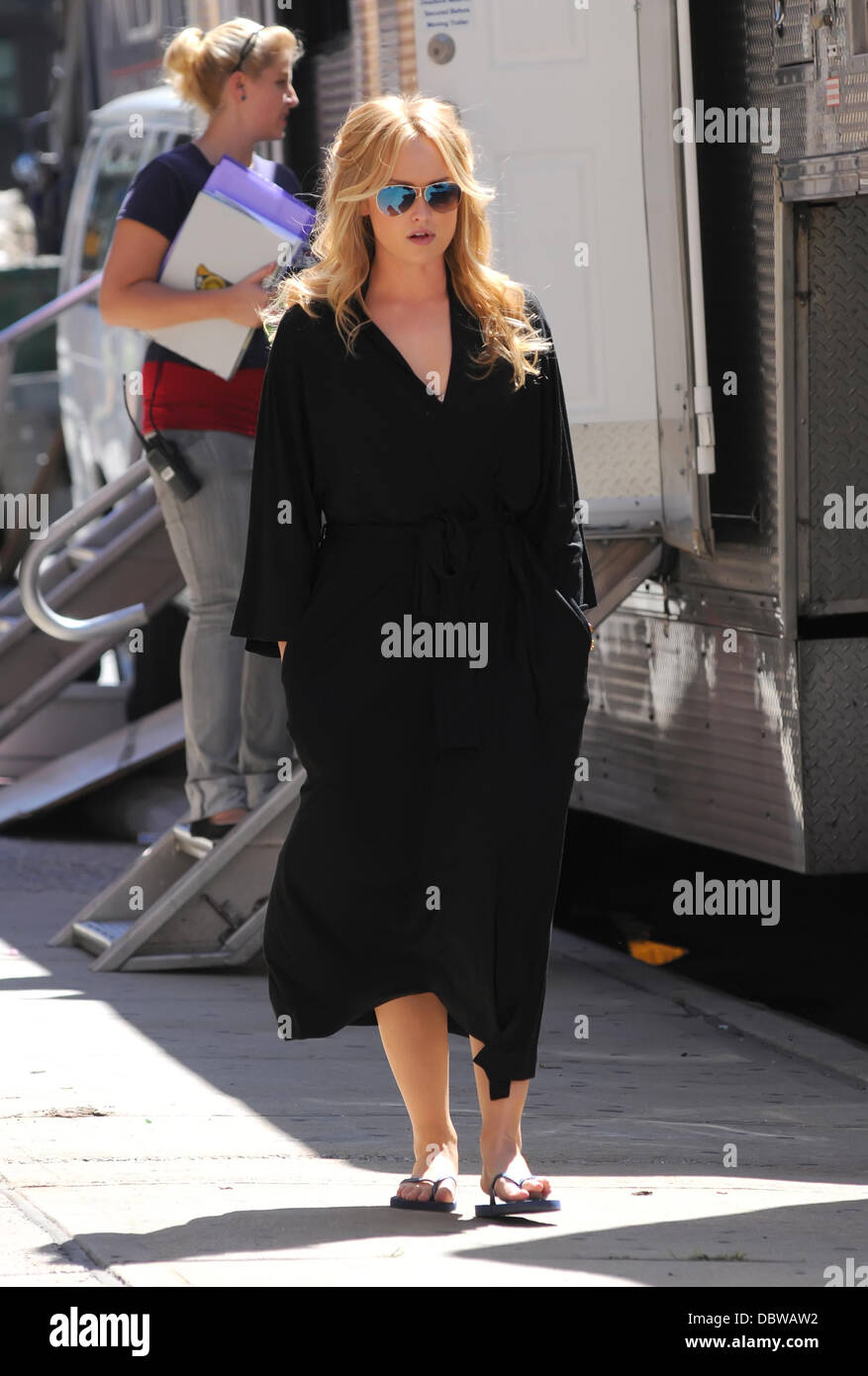 Kaylee Defer in her dressing gown, walking to the set of \'Gossip ...