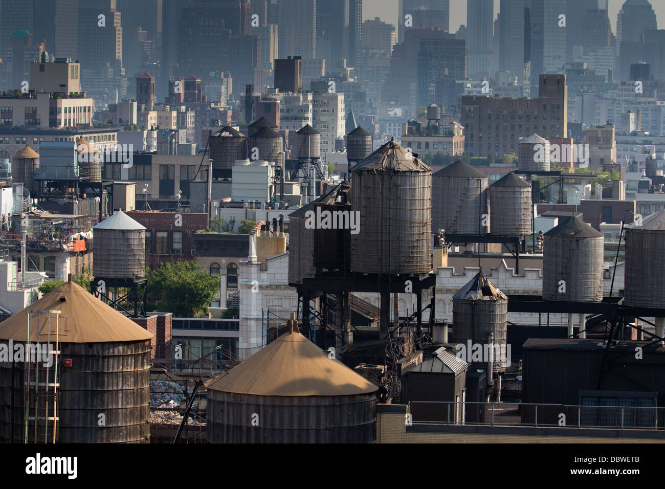 Water towers in New York CIty Stock Photo