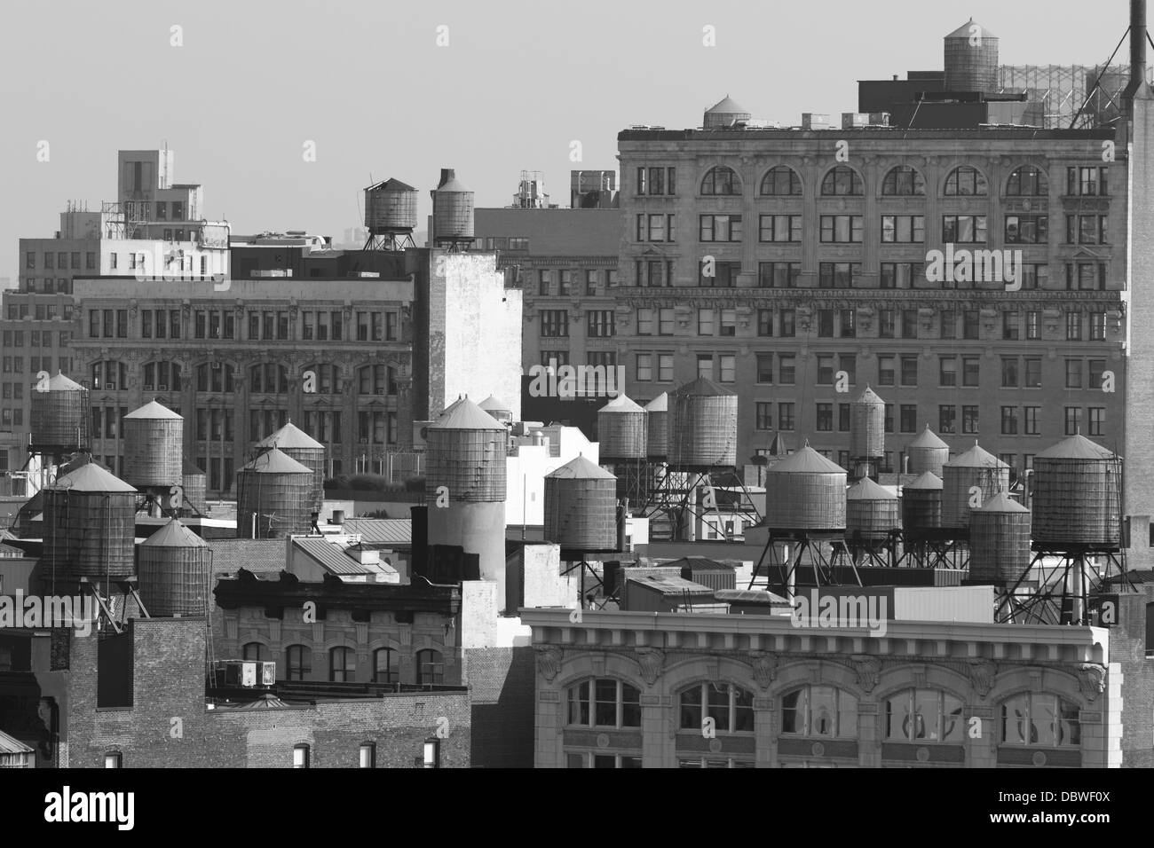 Black and White NYC water towers Stock Photo
