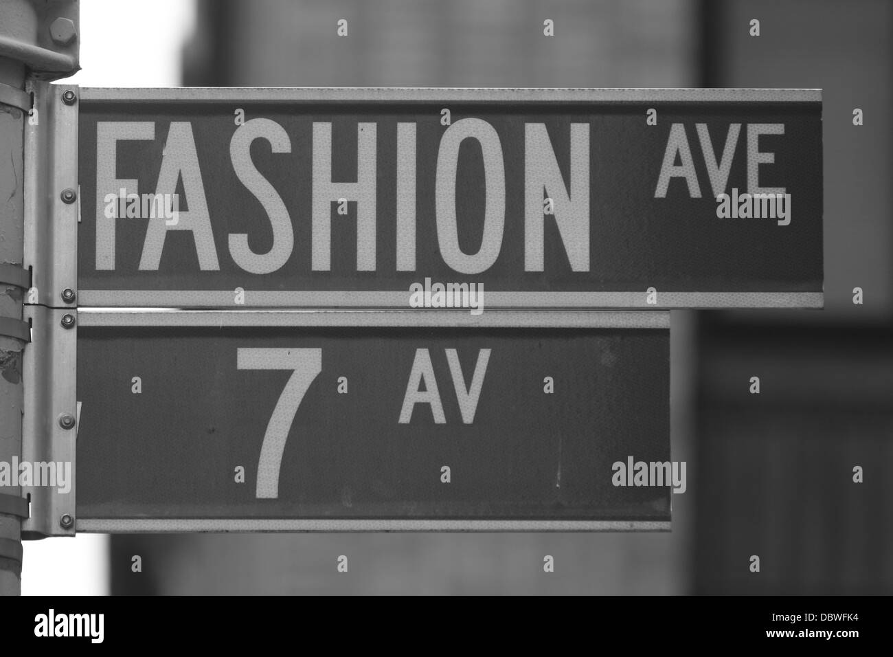 Black and White Fashion Ave sign, NYC Stock Photo