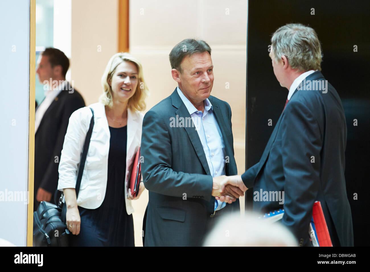 Berlin, German. 5th Aug, 2013. Thomas Oppermann, Secretary of the SPD Parliamentary Group, and Manuela Schwesig - Stock Image