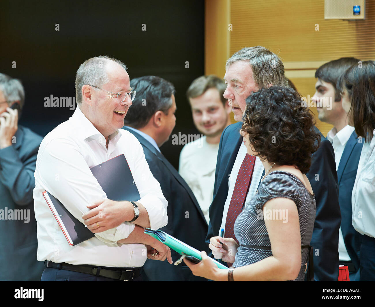 Berlin, German. 5th Aug, 2013. Peer Steinbrueck (SPD), SPD chancellor candidate, arrives at the Meeting of the SPD - Stock Image