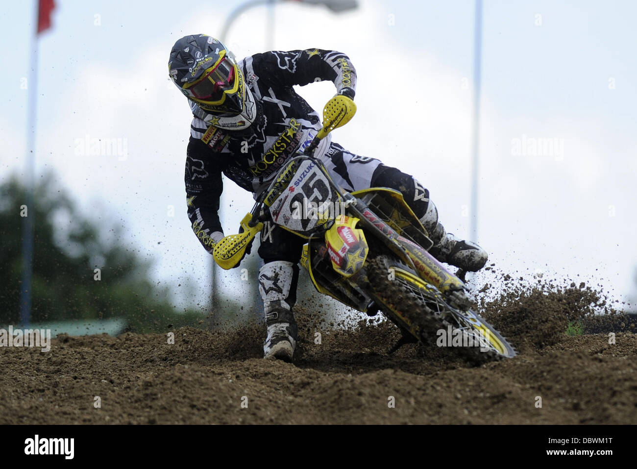 Loket, West Bohemia. 4th Aug, 2013. Motocross rider Clement Desale of Belgium on his way to first place of first - Stock Image