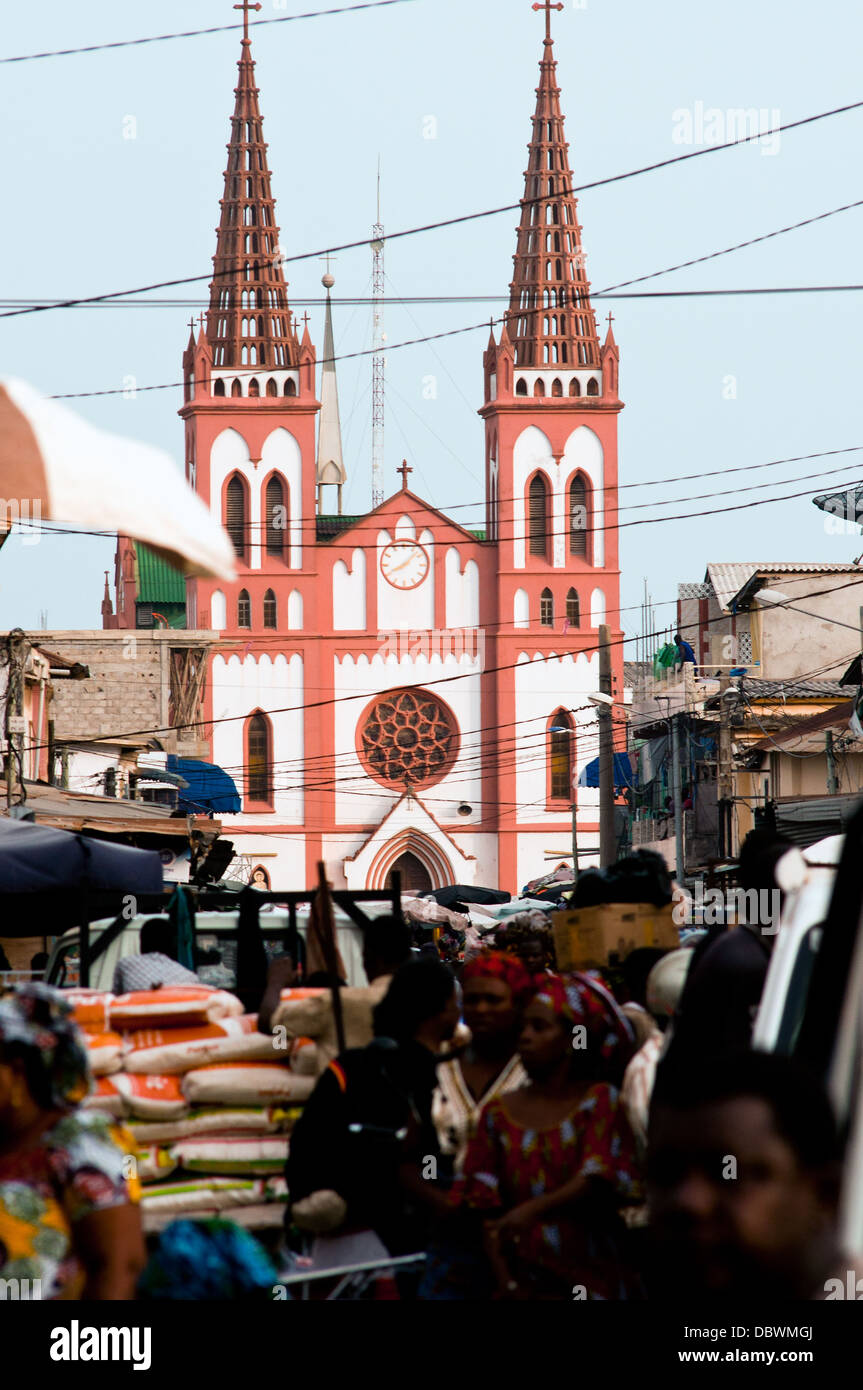 Central market and German colonial cathedral, Lome, Togo - Stock Image