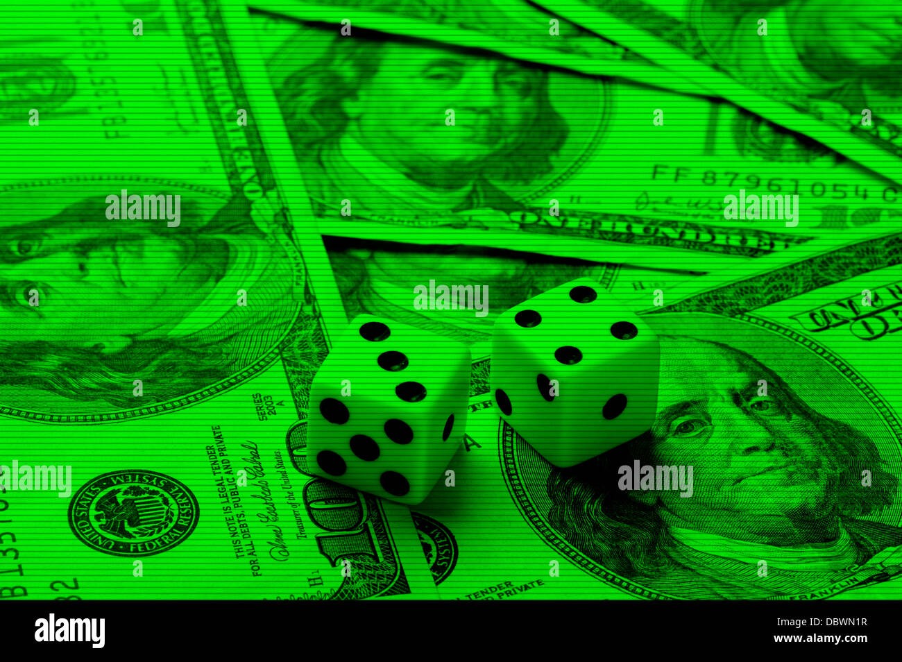 dice on $100 bills night vision camera - Stock Image