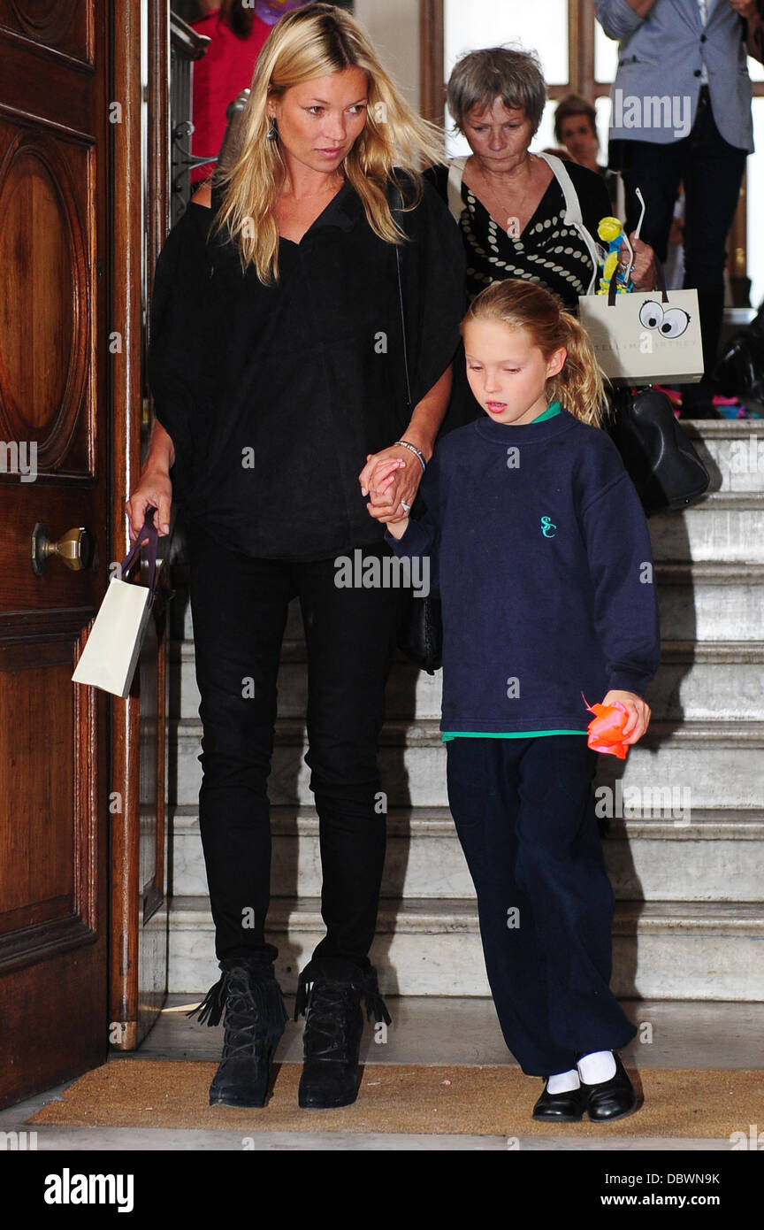 Kate Moss and daughter Lila Grace Celebrities attend the launch of Stella McCartney Kids fashion range event London, - Stock Image