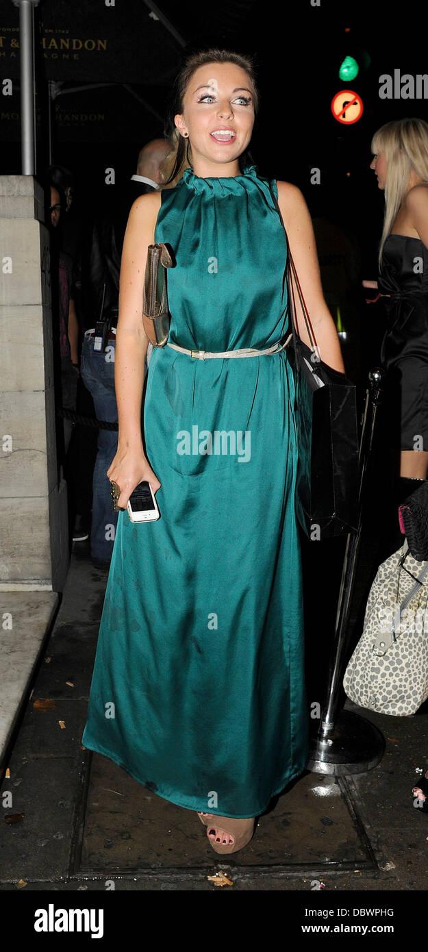 Louisa Lytton leaving Aura Nightclub with friends. London, England - 08.09.11 Stock Photo
