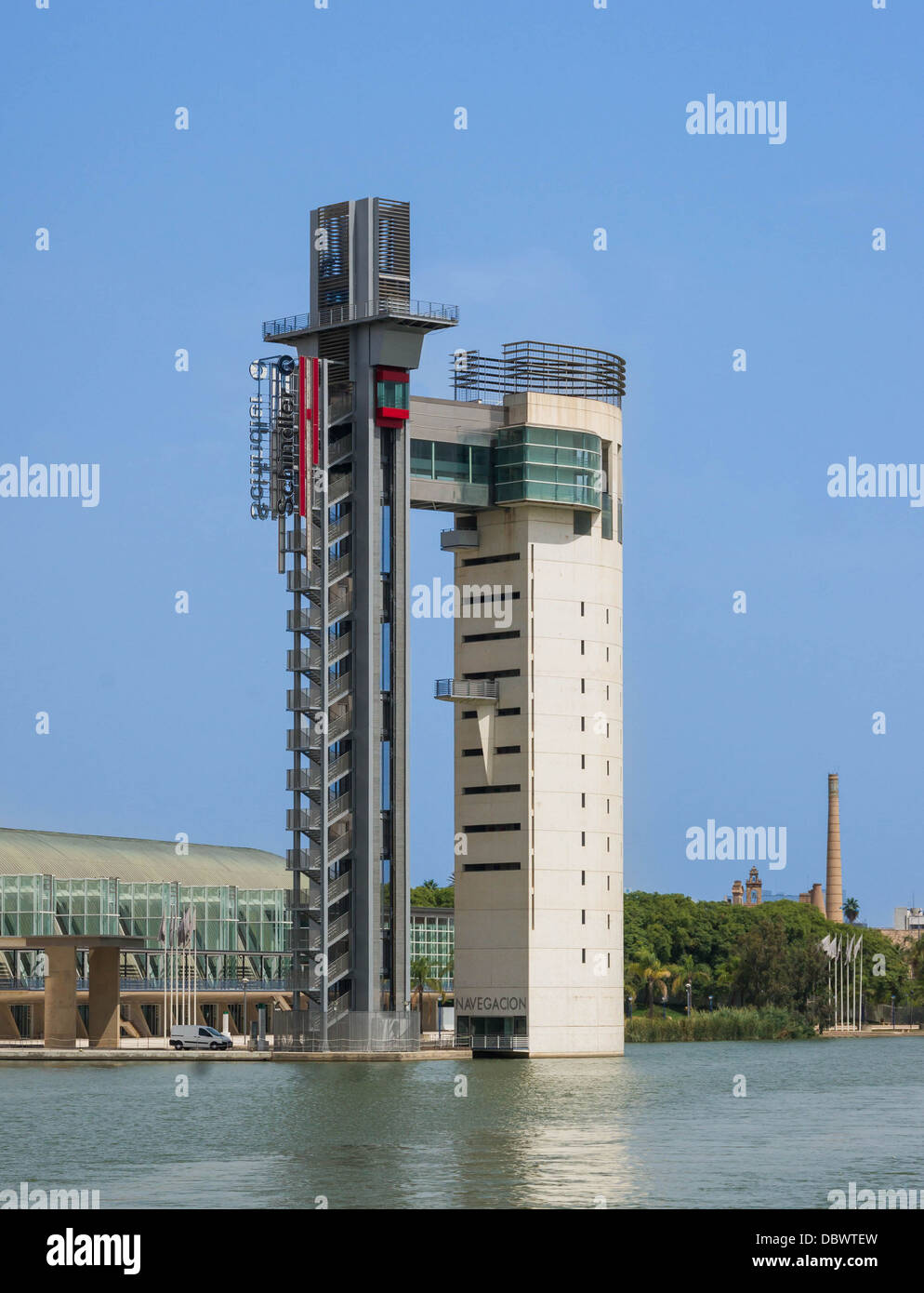 Tower and pavilion of the Navigation, World expo 1992, Guadalquivir river, Séville, Spain - Stock Image