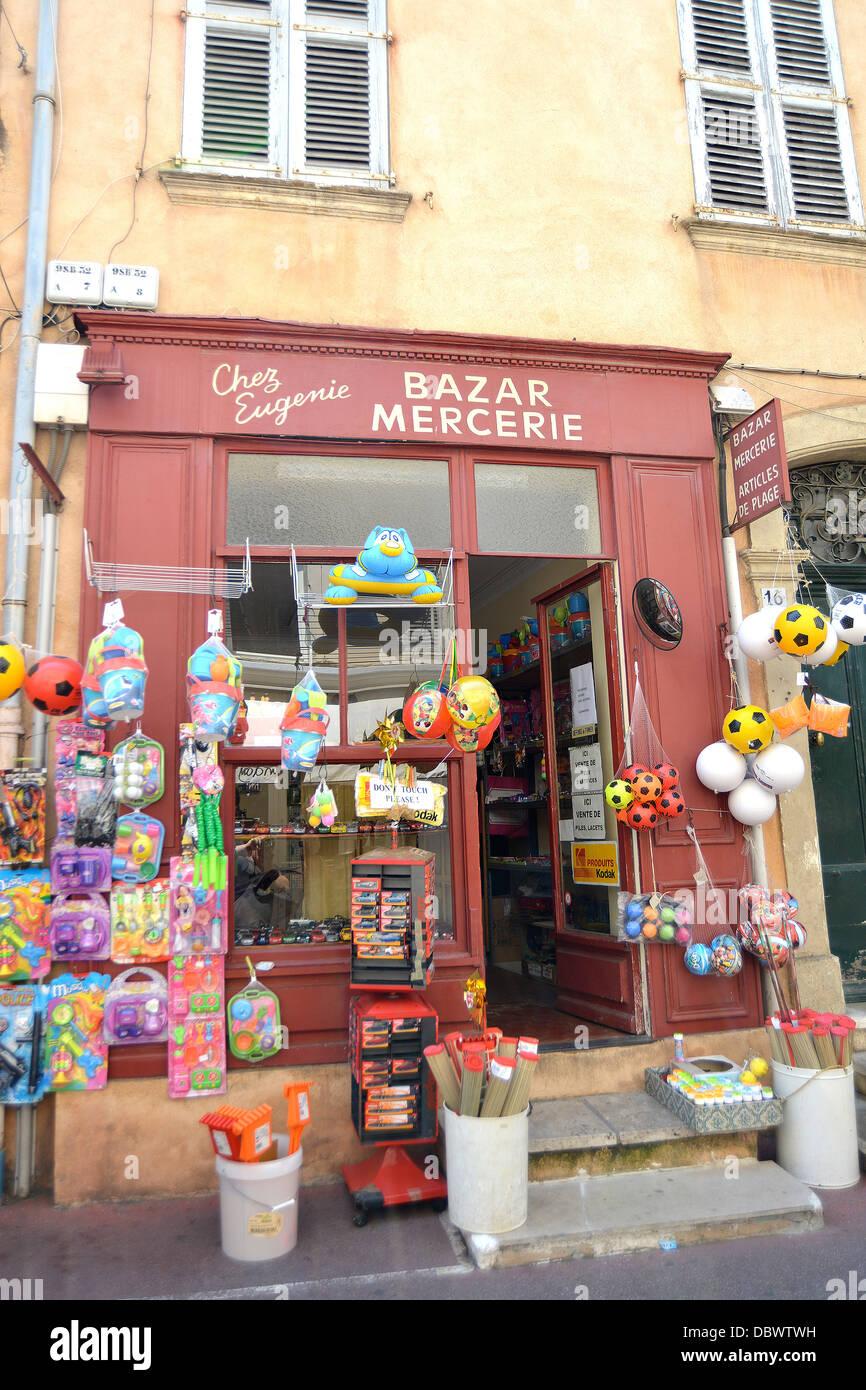 Chez Eugenie bazar mercerie Saint Tropez France - Stock Image