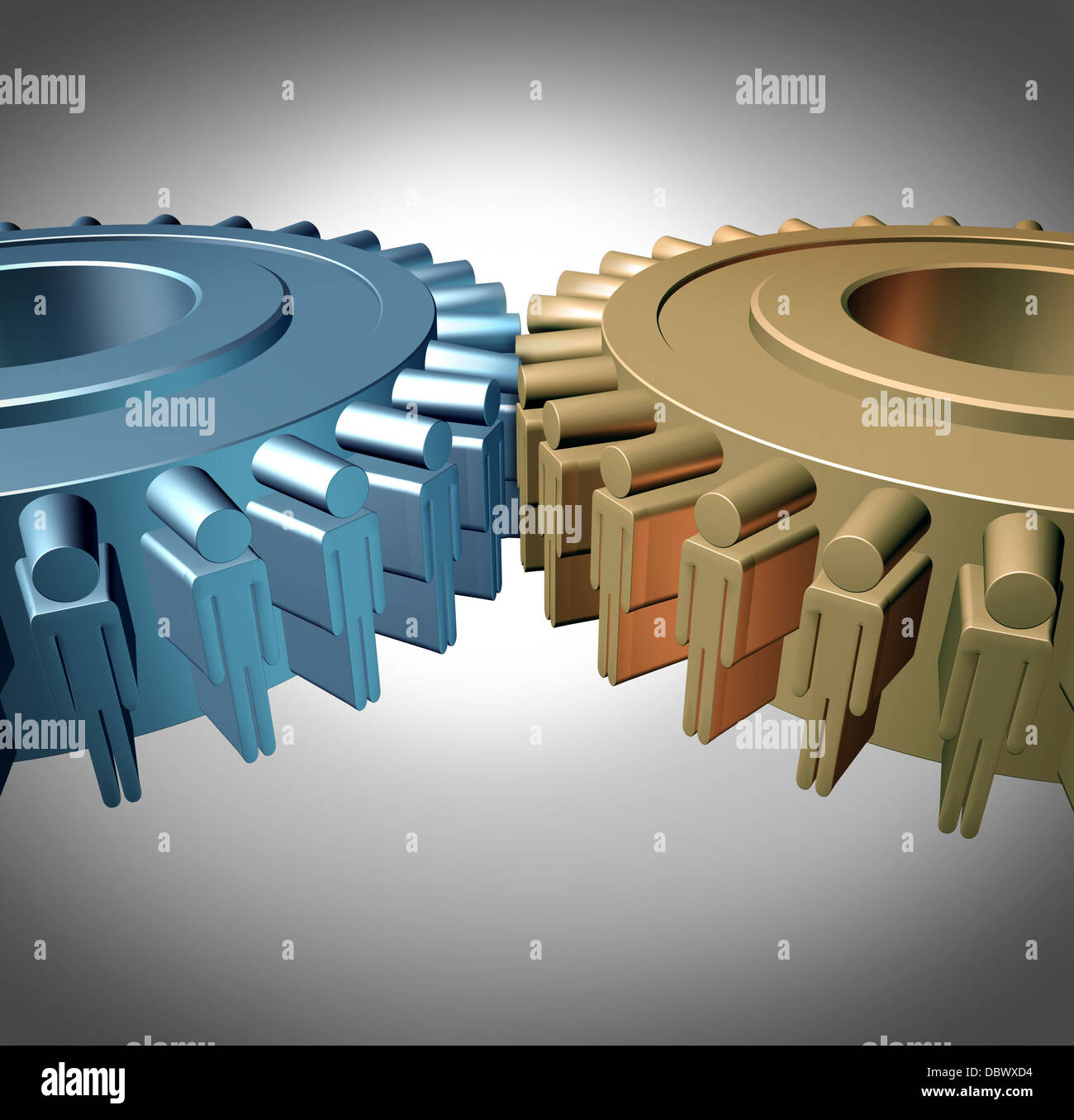 Business Teamwork concept with two merged gears or cog wheels shaped as business people icons in a meeting connected - Stock Image