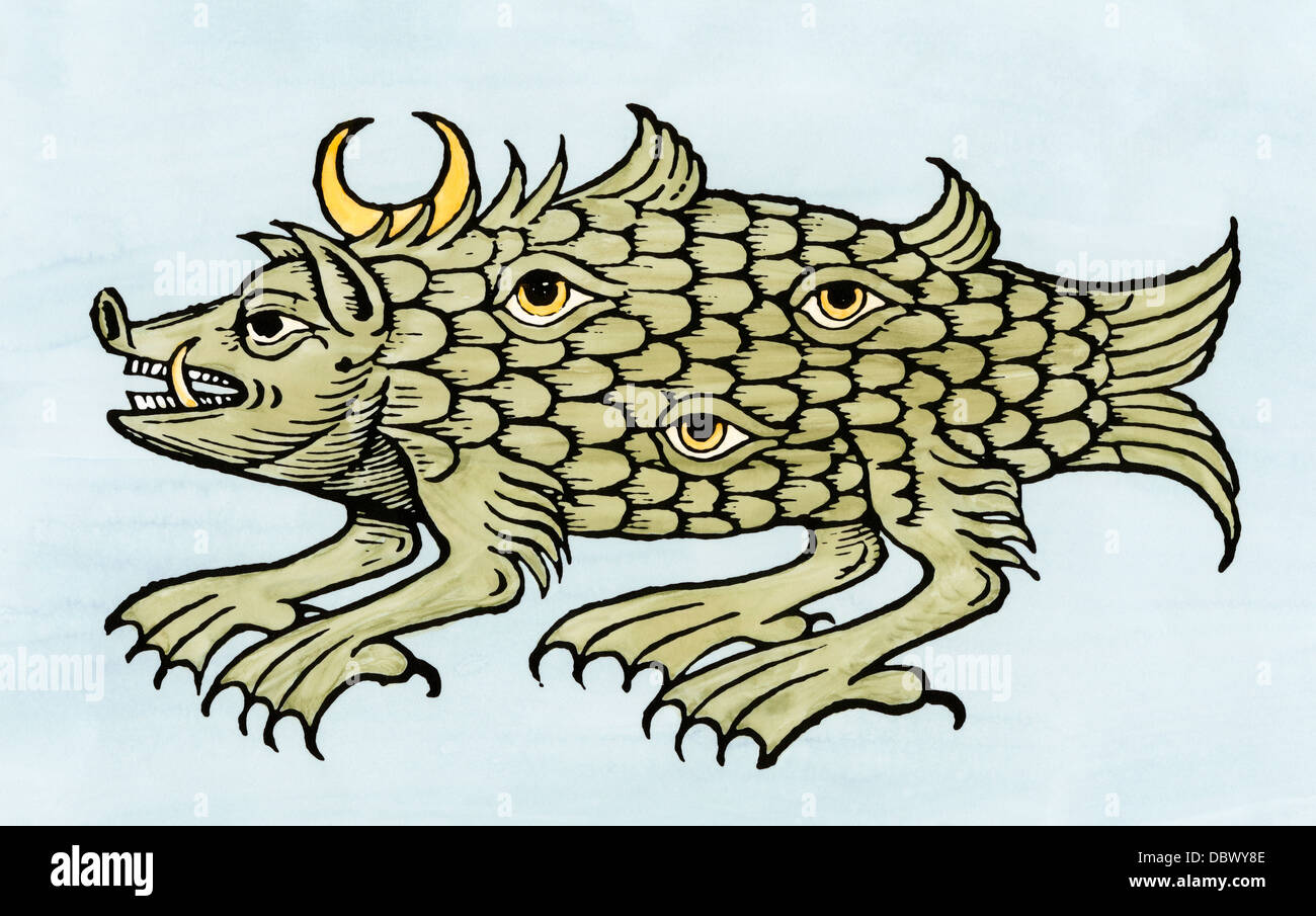 Argus sea monster in the Oceano Germanica, or North Sea, from Olaus Magnus, 1500s. Hand-colored woodcut - Stock Image