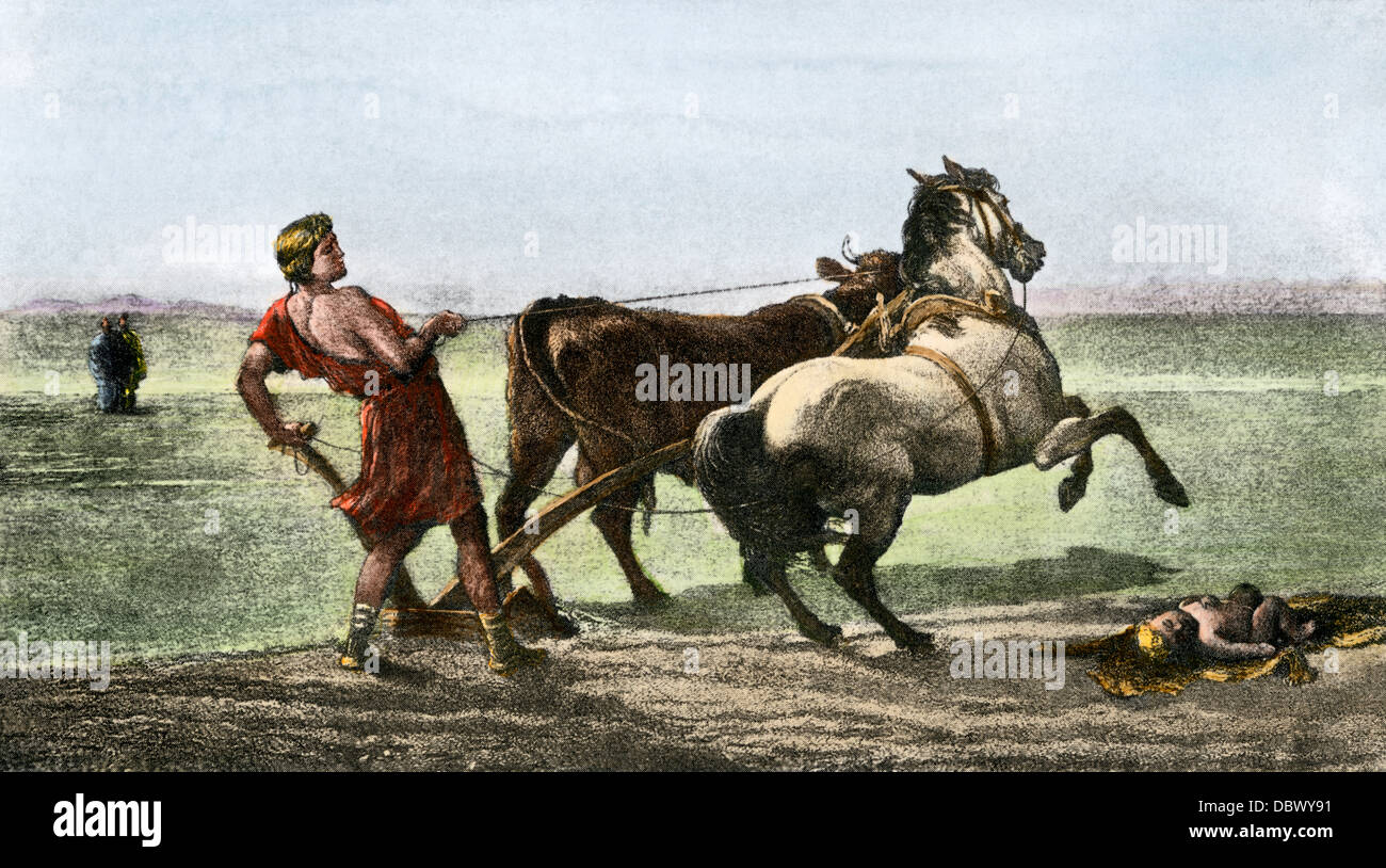 Ulysses plowing, using a horse and a bull. Hand-colored halftone reproduction of an illustration - Stock Image