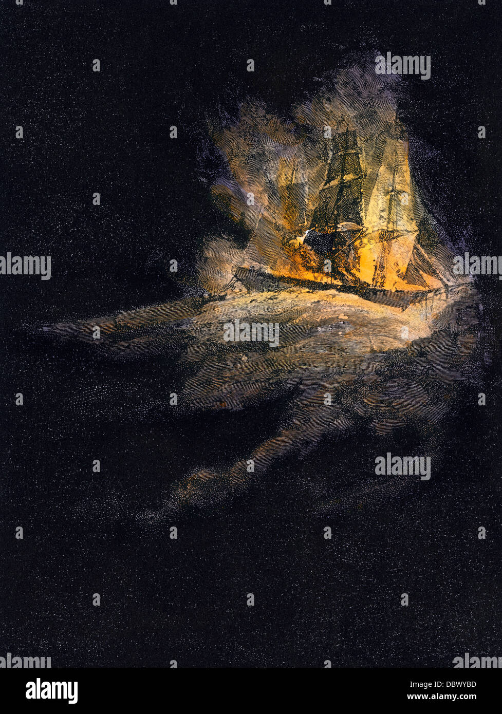 Phantom burning ship reported by sailors. Hand-colored woodcut - Stock Image