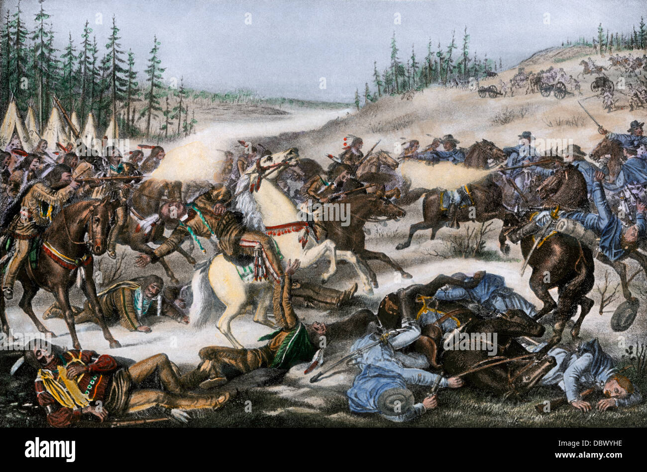 Capture and death of Chief Sitting Bull in South Dakota, 1890. Hand-colored halftone reproduction of an illustration - Stock Image