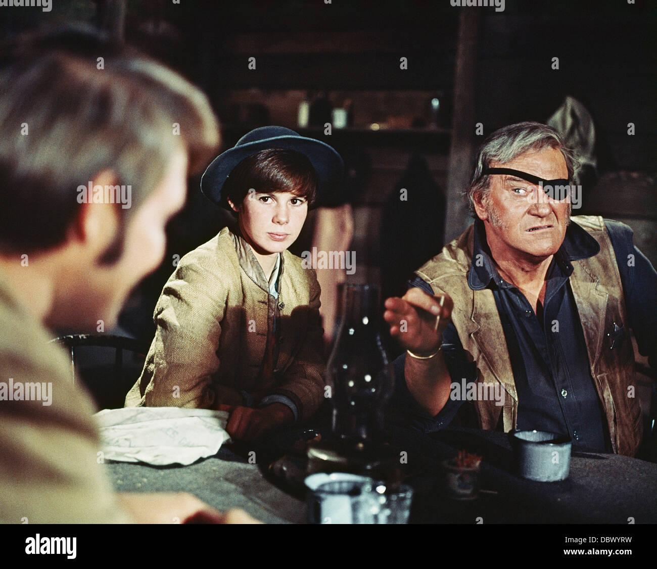 1960s 1969 MOTION PICTURE TRUE GRIT WITH JOHN WAYNE, KIM DARBY, GLEN CAMPBELL - Stock Image