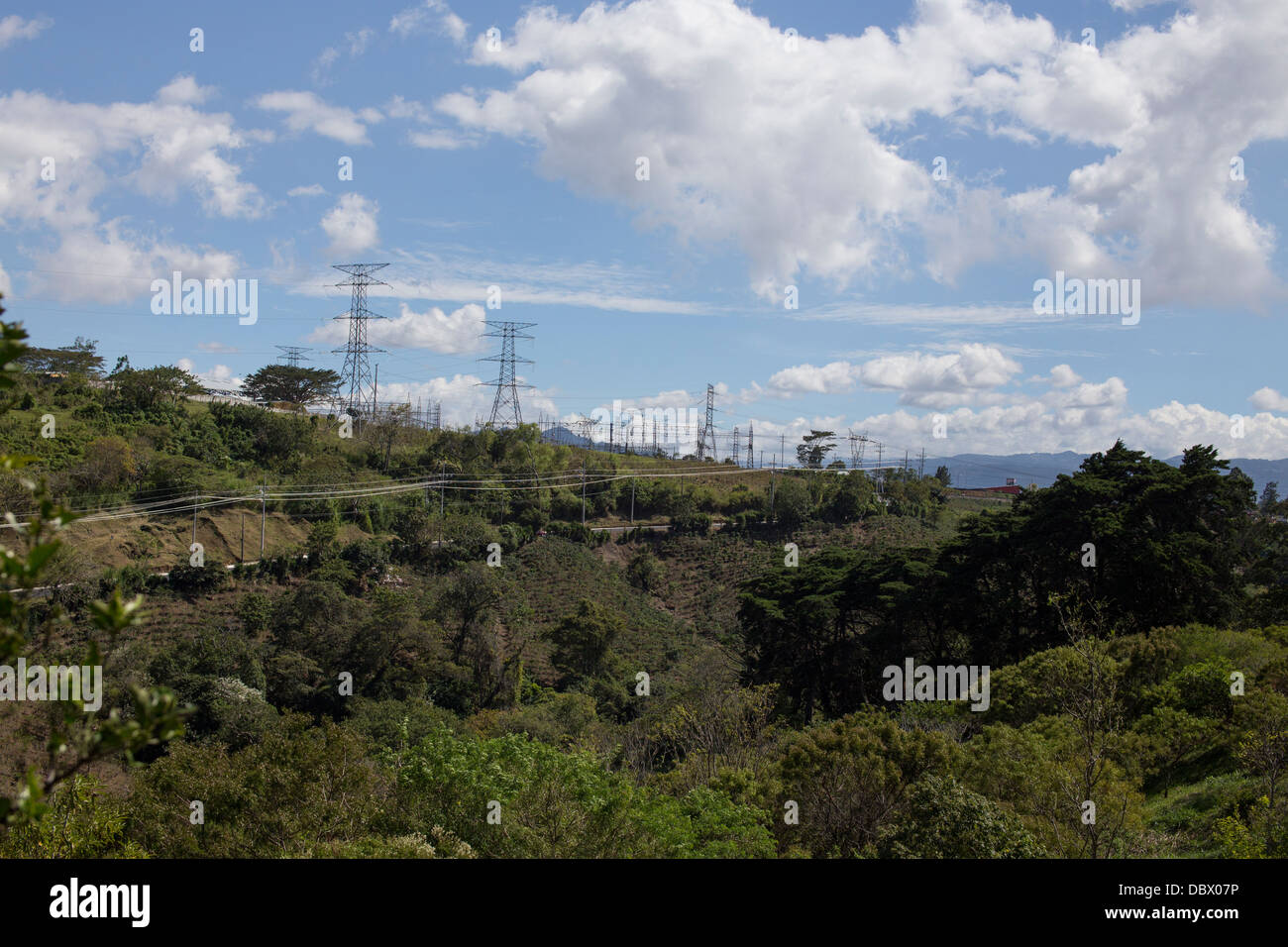 Image overlooking coffee plantations and some power lines on a hill in Costa Rica - Stock Image