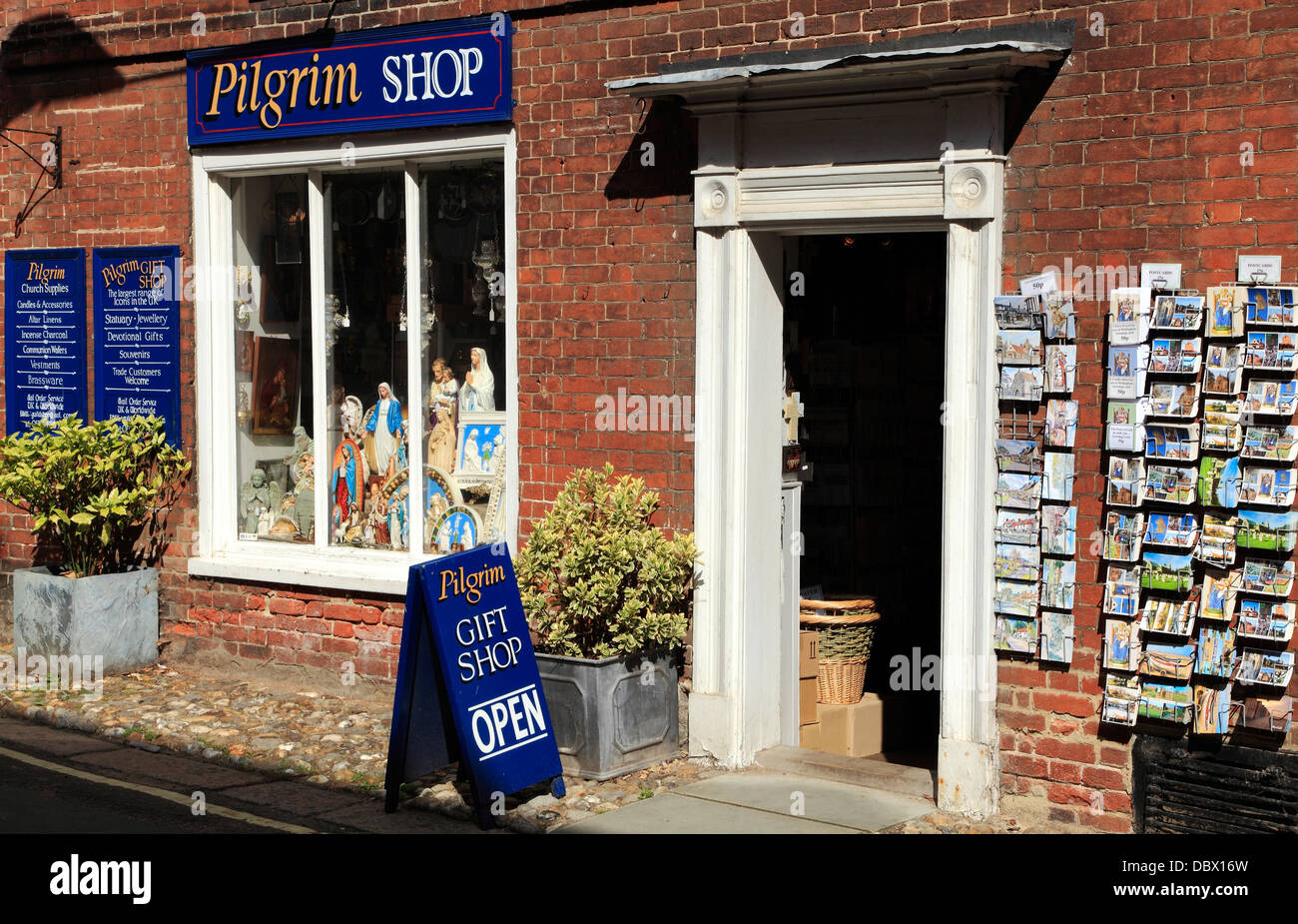 Walsingham Norfolk, The Pilgrim Shop, icon, icons church ecclesiastical goods supplies gift gifts England UK shops - Stock Image