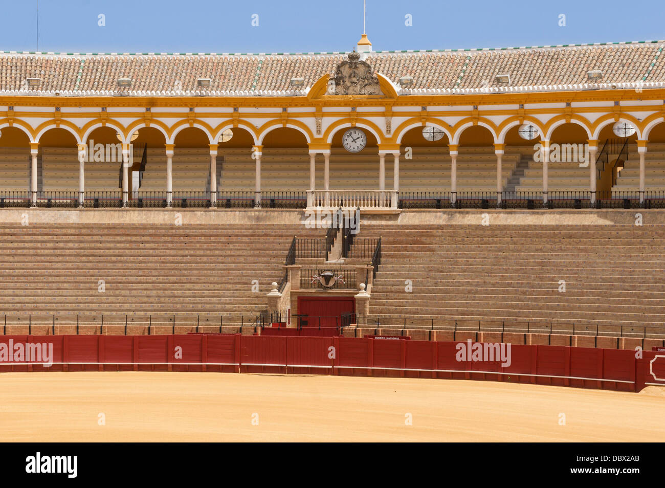 Detail of the bleachers and grandstands of the bullring of the Real Maestranza de Caballeria, Seville, Spain. - Stock Image