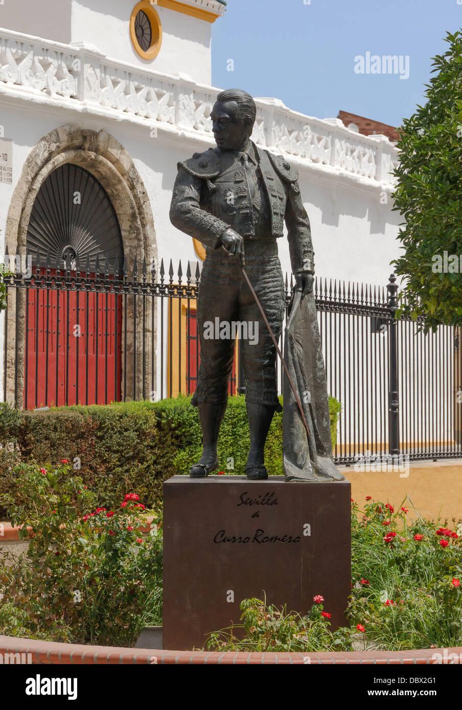 Bronze statue to Curro Romero, by Sebastian Santos Calero, close the bullring of the Real Maestranza de Caballeria - Stock Image