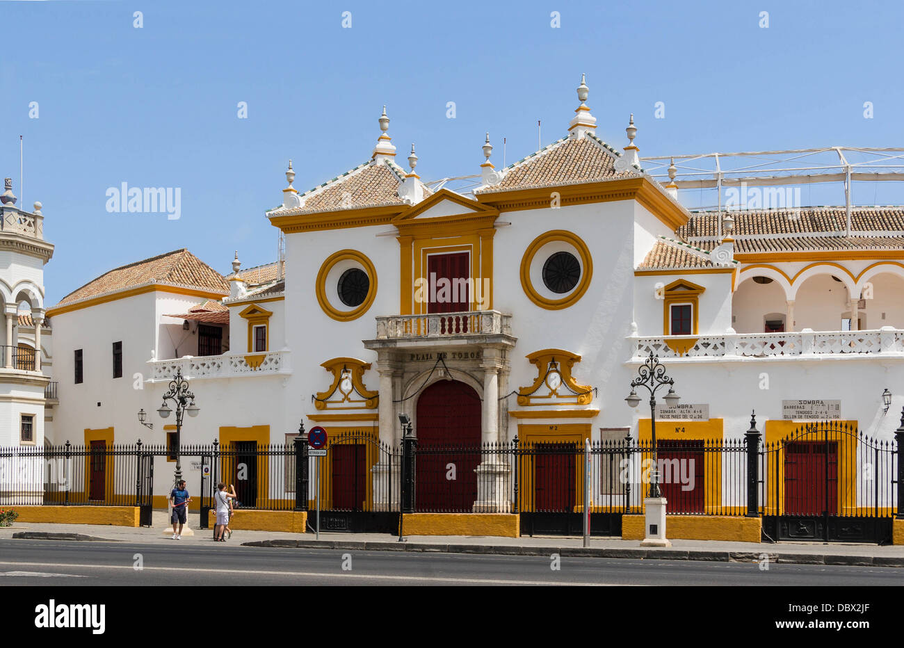 The main entrance (Puerta del Principe, the gate of the Prince) of the bullring of the Real Maestranza de Caballeria, - Stock Image