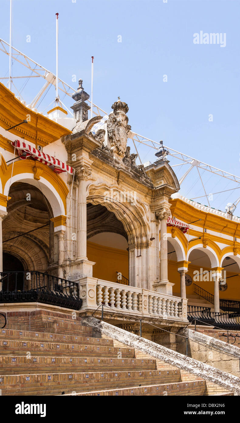 The royal box, in the bullring of the Real Maestranza de Caballeria in Seville, Spain. - Stock Image