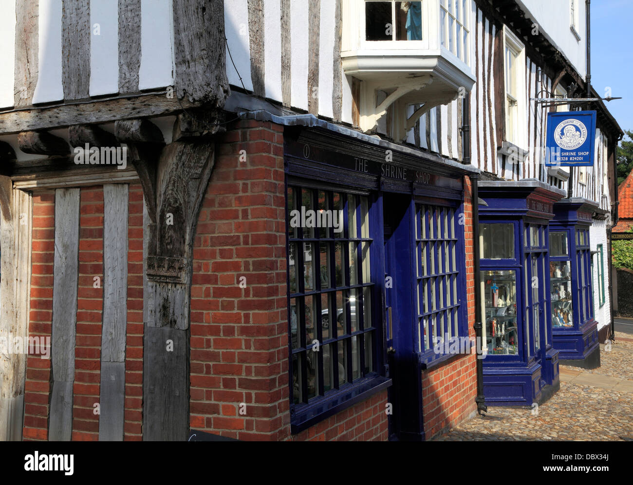 Walsingham Norfolk, The Shrine Shop, Common Place, England UK, late 15th century English architecture shops - Stock Image