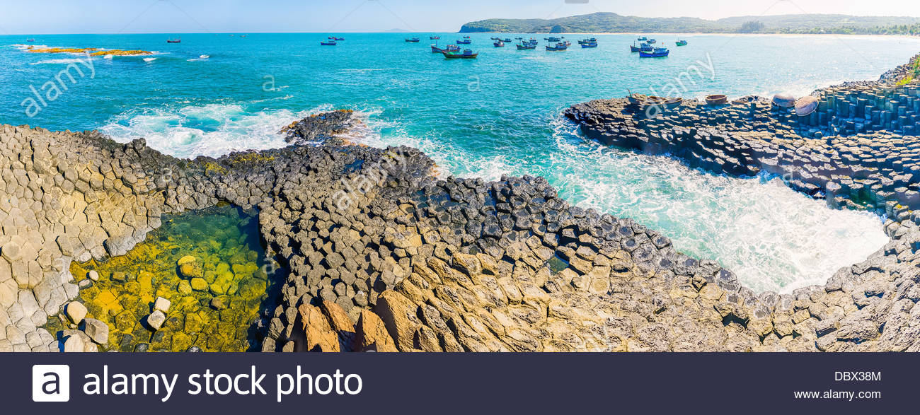 Panorama of Ghenh Da Dia (Ganh Da Dia), giant's basalt causeway. Tuy An District, Phu Yen Province, Vietnam - Stock Image