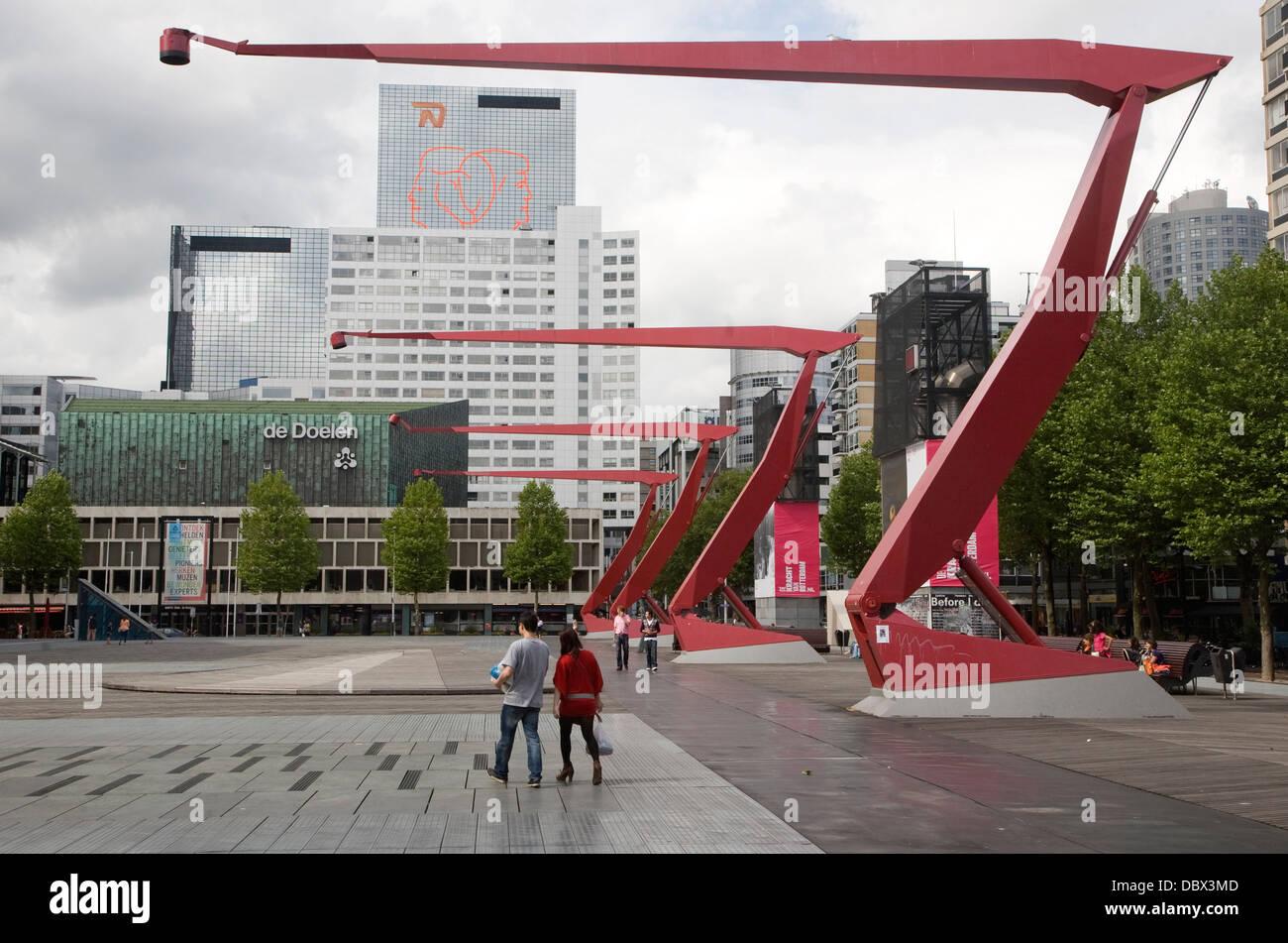 Schouwburgplein square Rotterdam Netherlands designed by Adriaan Geuze Stock Photo