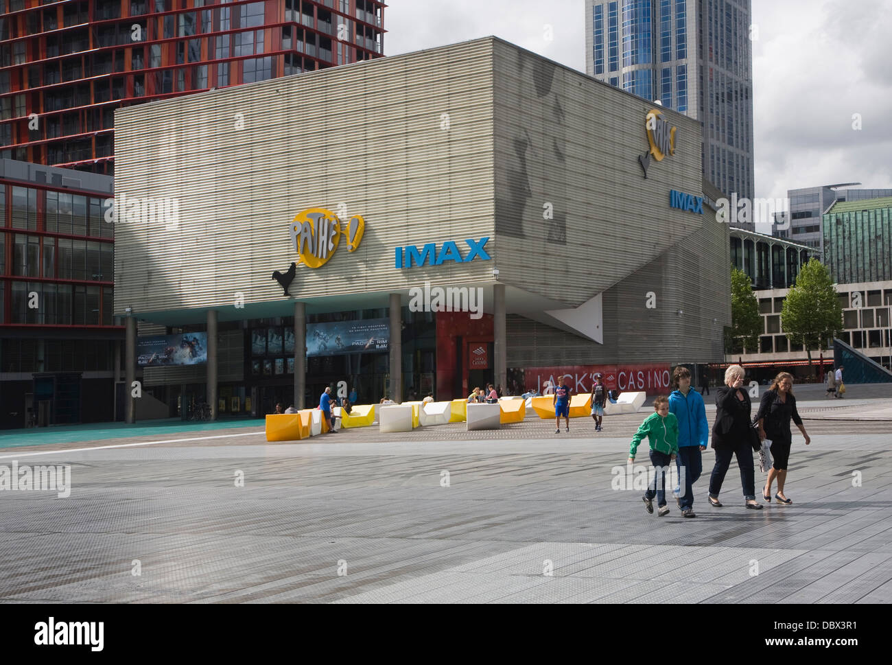 iMax Pathe cinema Schouwburgplein square Rotterdam Netherlands designed by Adriaan Gueze - Stock Image