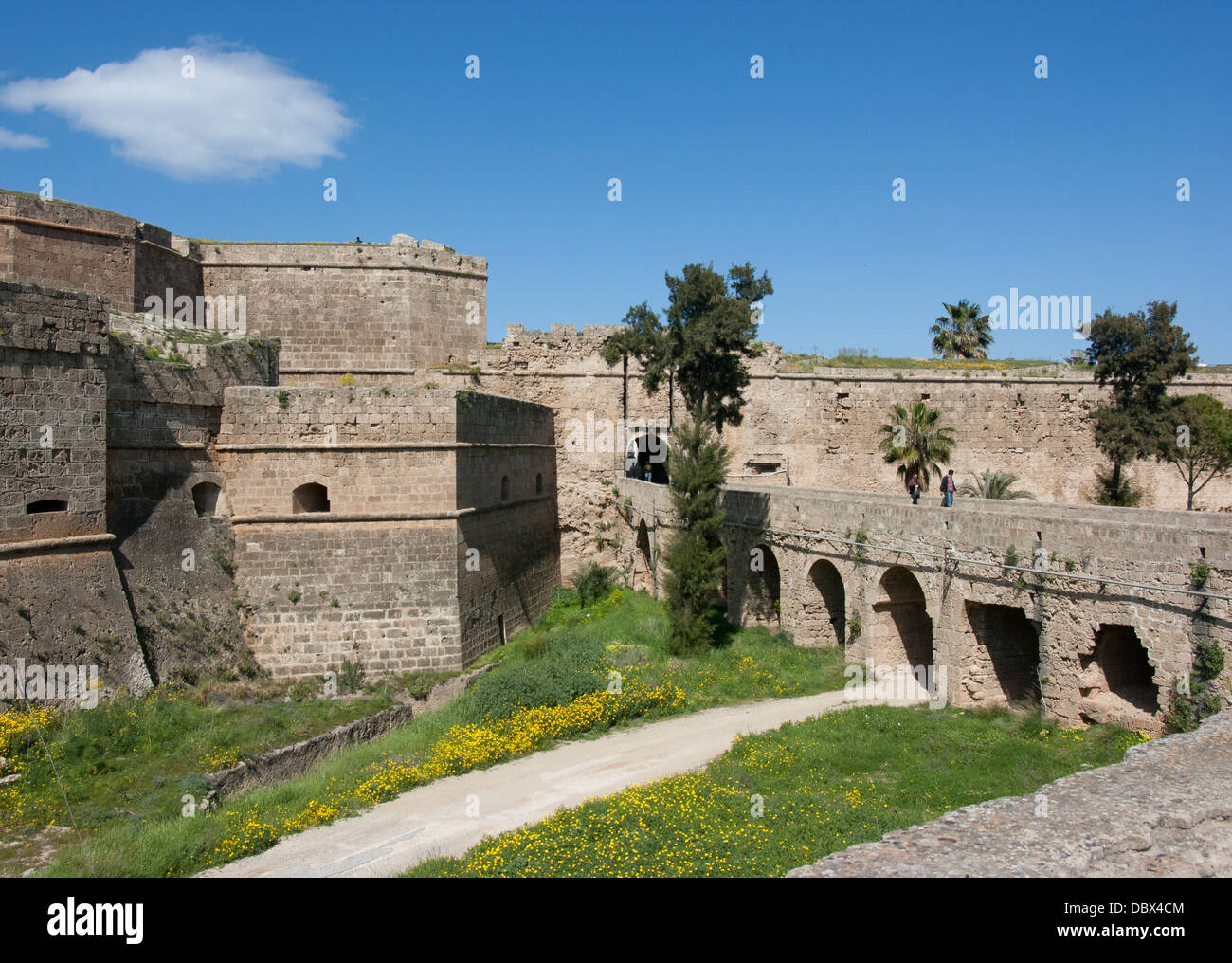 Old fortifications and bridge leading to the Land Gate (also known as the Limassol Gate) into Famagusta, North Cyprus - Stock Image
